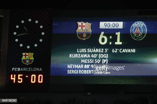 Score of the games after the UEFA Champions League Round of 16 second leg match between FC Barcelona and Paris Saint-Germain at Camp Nou on March 8,...