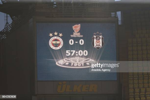 Score table is seen ahead of the Ziraat Turkish Cup soccer match between Fenerbahce and Besiktas at Ulker Stadium in Istanbul Turkey on May 03 2018...