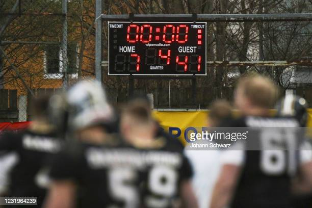 Scoreboard and finalscore during the Austrian Football League game between Rangers Moedling between Dacia Vikings at Stadion Moedling on March 27,...