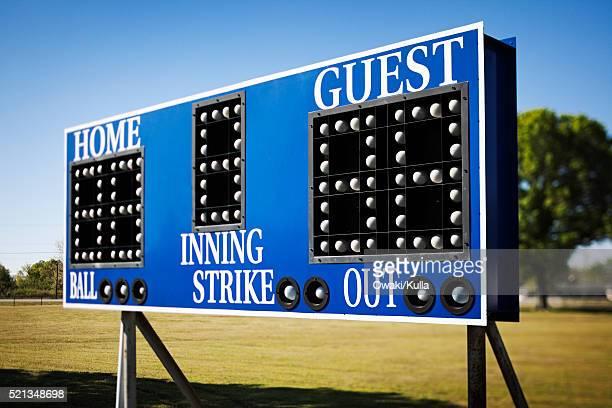 Scoreboard at athletic field