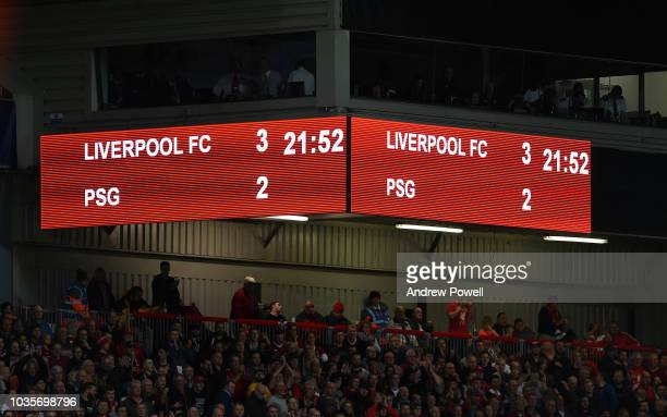 Scoreboard at the end of the Group C match of the UEFA Champions League between Liverpool and Paris SaintGermain at Anfield on September 18 2018 in...