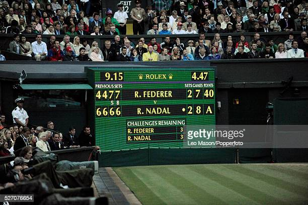 Scoreboard before a match point during the 2008 Wimbledon Championships final between Roger Federer and Rafael Nadal