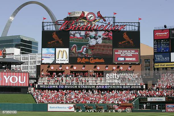 Scoreboard before the home opening game between the Milwaukee Brewers and the St. Louis Cardinals on April 10, 2006 at the new Busch Stadium in St....