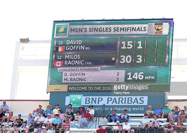 Scoreboard displaying a 146 miles per hour serve of Milos Raonic of Canada as he beats David Goffin of Belgium during day thirteen of the 2016 BNP...