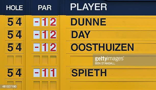 Scoreboard displays the leaders after their completed third rounds on day four of the 2015 British Open Golf Championship on The Old Course at St...