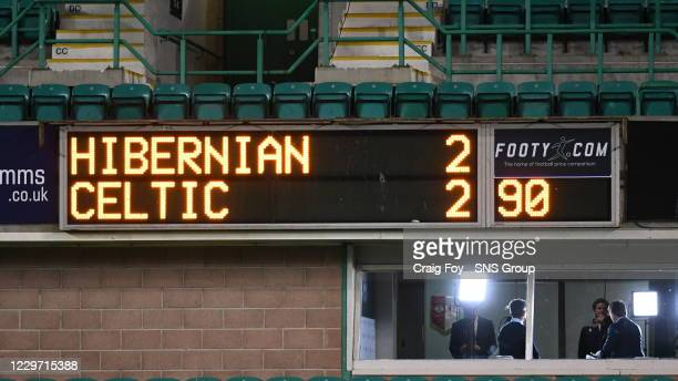 Scoreboard during a Scottish Premiership match between Hibernian and Celtic at Easter Road on November 21 in Edinburgh Scotland
