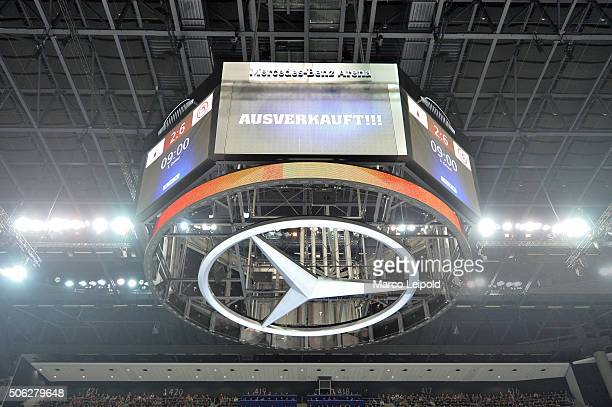 Scoreboard during the DEL game between the Eisbaeren Berlin and Duesseldorfer EG on January 22 2016 in Berlin Germany
