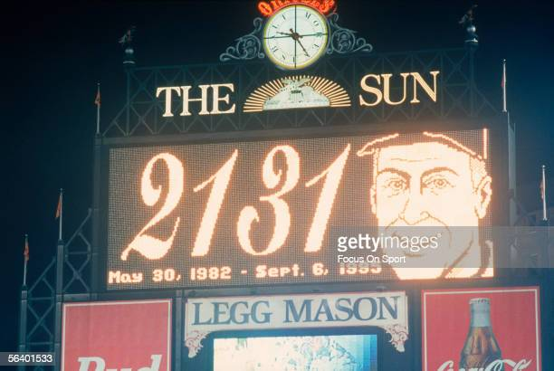 Scoreboard flashes the news that Cal Ripken Jr. Is baseball's new iron man, playing a consecutive 2131 games during a game at Camden Yards on...