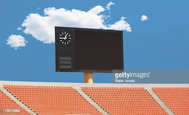 scoreboard in a stadium - scoreboard stock pictures, royalty-free photos & images