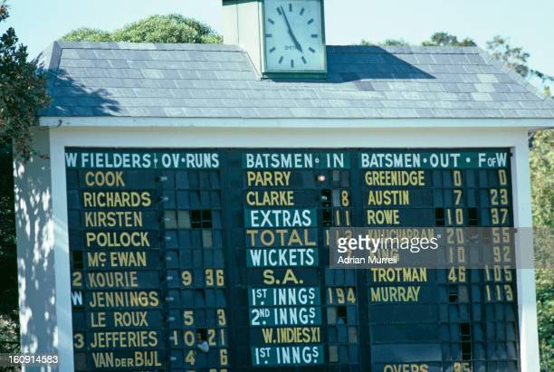 A scoreboard in Cape Town during a rebel West Indies XI match against South Africa February 1983