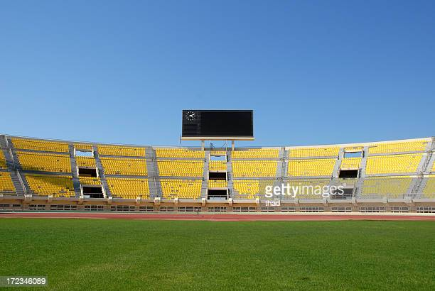 scoreboard in empty stadium - scoreboard stock pictures, royalty-free photos & images