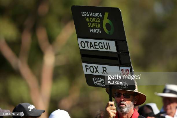 A scoreboard is carried by a scoring attendant in the match play final between Ryan Fox of New Zealand and Adrian Otaegui Spain during day 4 of the...