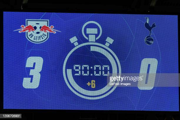 Scoreboard is seen after the UEFA Champions League round of 16 second leg match between RB Leipzig and Tottenham Hotspur at Red Bull Arena on March...