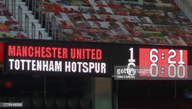 Scoreboard is seen during the Premier League match between Manchester United and Tottenham Hotspur at Old Trafford on October 04, 2020 in Manchester,...