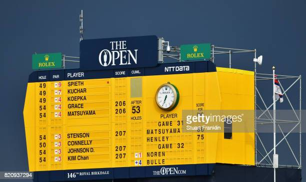 A scoreboard is seen during the third round of the 146th Open Championship at Royal Birkdale on July 22 2017 in Southport England
