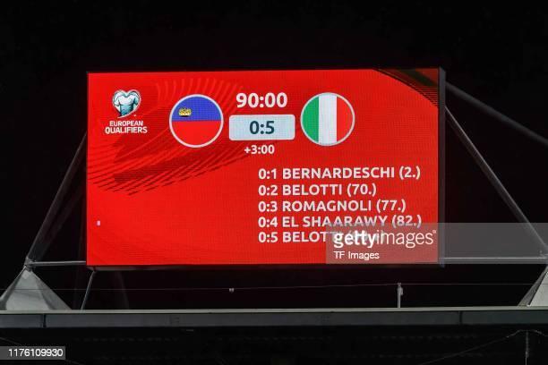 Scoreboard is seen during the UEFA Euro 2020 qualifier between Liechtenstein and Italy on October 15, 2019 in Vaduz, Liechtenstein.