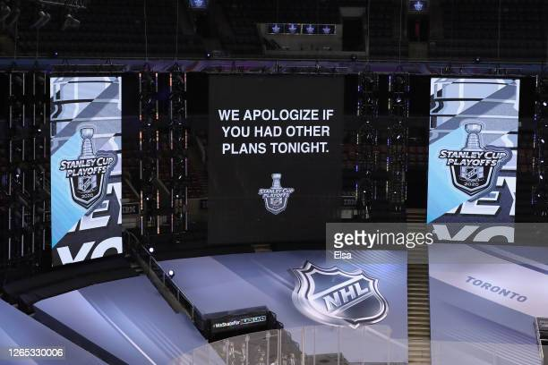 Scoreboard message displayed during the fourth overtime period of the game between the Columbus Blue Jackets and the Tampa Bay Lightning in Game One...