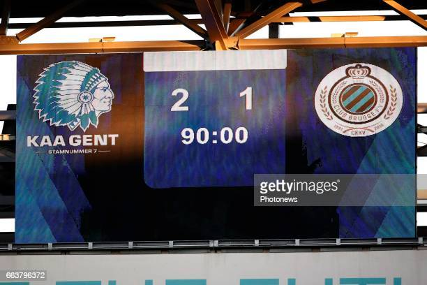 scoreboard pictured during play off 1 of Jupiler Pro League match between KAA Gent and Club Brugge KV on april 2 2017 in Gent Belgium
