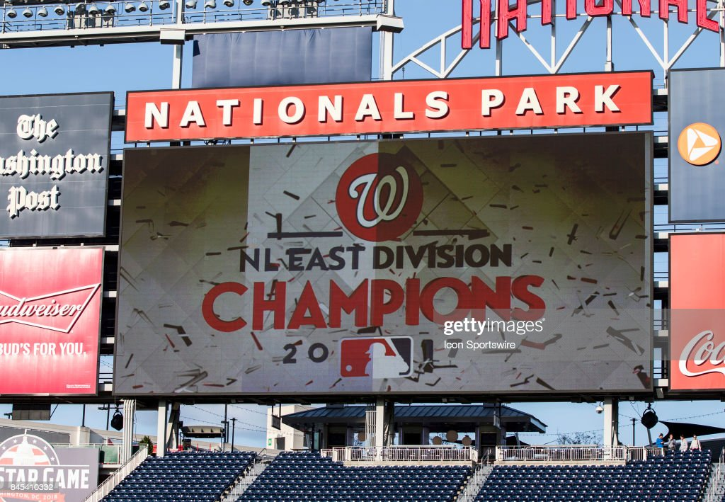 Scoreboard proclaims Nationals East Division champions after a MLB game between the Washington Nationals and the Philadelphia Phillies on September 10, 2017 at Nationals Park, in Washington DC. The Nationals defeated the Phillies 3-2. Washington Nationals NL East Division Champions.