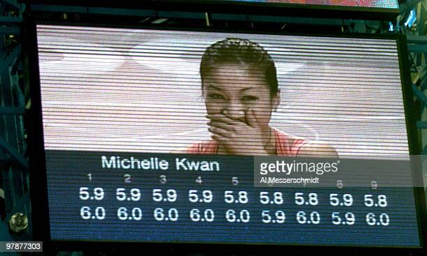 Scoreboard reports perfect scores of winner Michelle Kwan January 10 2004 in the Women's Championship at the 2004 State Farm U S Figure Skating...