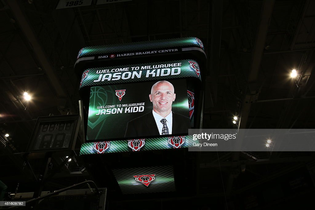 A scoreboard shot of the Milwaukee Bucks introducing Jason Kidd as the new head coach during a press conference at the BMO Harris Bradley Center on July 2, 2014 in Milwaukee, Wisconsin.