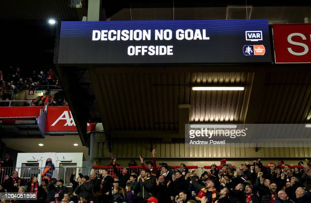 Scoreboard showing the VAR decision during the FA Cup Fourth Round Replay match between Liverpool FC and Shrewsbury Town at Anfield on February 04...