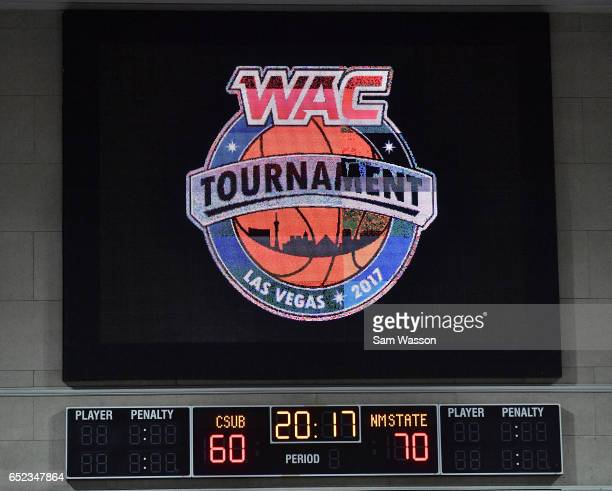 A scoreboard shows the 7060 final score of the New Mexico State Aggies win over the Cal State Bakersfield Roadrunners in the championship game of the...