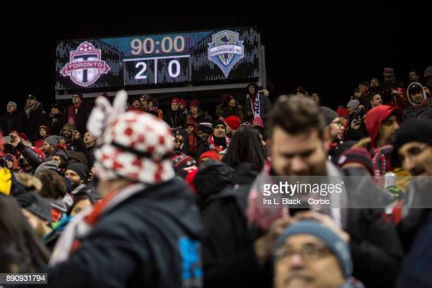 Scoreboard shows the final score of the 2017 Audi MLS Championship Cup match between Toronto FC and Seattle Sounders FC at BMO Field on December 09...