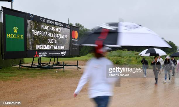 A scoreboard shows the weather delay prior to the delayed third round of the ATT Byron Nelson at the Trinity Forest Golf Club on May 11 2019 in...