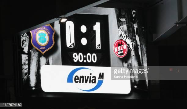Scoreboard with final score 01 during the second Bundesliga match between FC Erzgebirge Aue and 1FC Koeln at SparkassenErzgebirgsstadion on February...