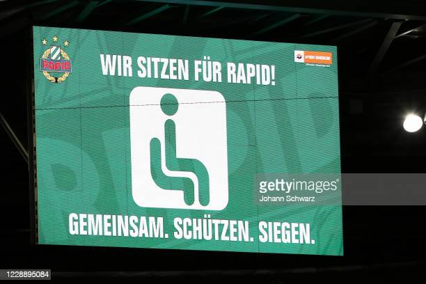 Scoreboard with lettering Wir sitzen fuer Rapid during the tipico Bundesliga match between SK Rapid Wien and LASK at Allianz Stadion on October 4...