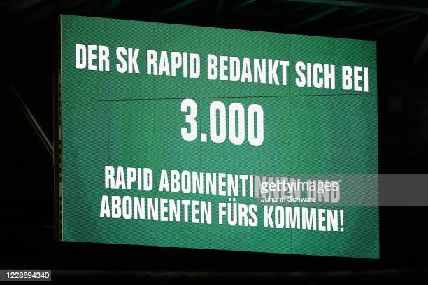 Scoreboard with number of spectators during the tipico Bundesliga match between SK Rapid Wien and LASK at Allianz Stadion on October 4 2020 in Vienna...