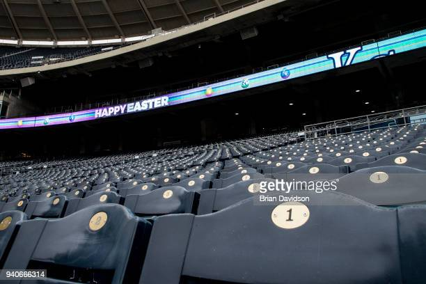 Scoreboards around Kauffman Stadium displayed Happy Easter on April 1 2018 in Kansas City Missouri The scheduled game between the Chicago White Sox...