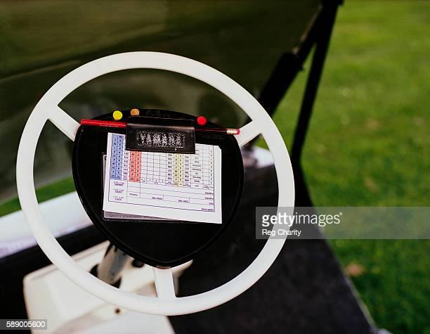 Scorecard on Golf Cart Steering Wheel