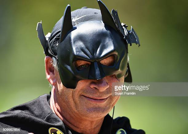 A scorer dressed as batman looks on during the third round of the Tshwane Open at Pretoria Country Club on February 13 2016 in Pretoria South Africa