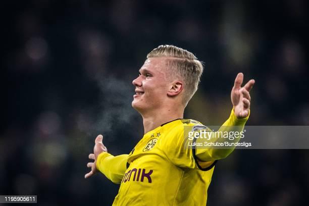 Scorer Erling Haaland of Dortmund celebrates his teams fourth goal during the Bundesliga match between Borussia Dortmund and 1 FC Köln at Signal...