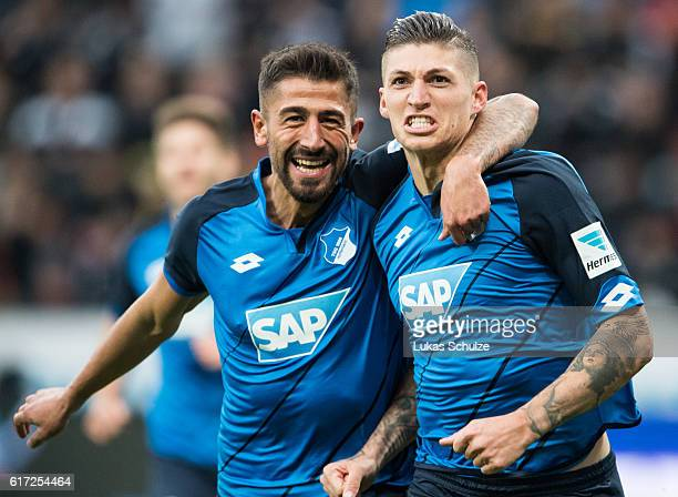 Scorer for 30 for Hoffenheim Steven Zuber of Hoffenheim and teammate Kerem Demirbay of Hoffenheim celebrate the goal during the Bundesliga match...