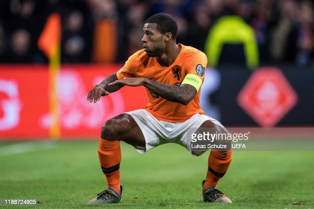Scorer Georginio Wijnaldum of Netherlands celebrates his team's third goal during the UEFA Euro 2020 Qualifier between The Netherlands and Estonia on...