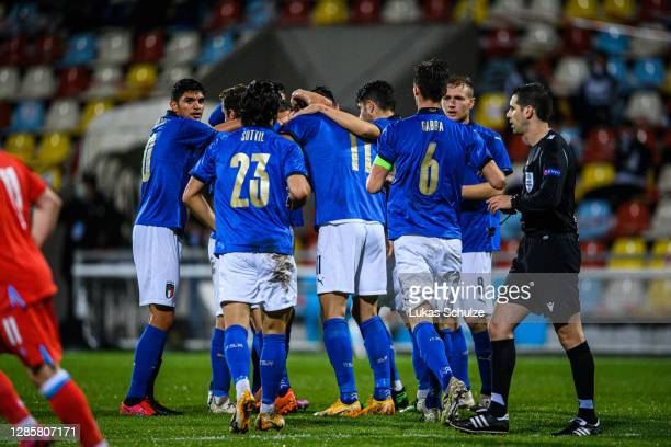 Scorer Gianluca Scamacca of Italy celebrates his team's first goal with team mates during the UEFA Euro Under 21 Qualifier match between Luxembourg...