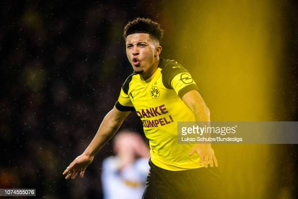 Scorer Jadon Sancho of Dortmund celebrates his team's first goal during the Bundesliga match between Borussia Dortmund and Borussia Moenchengladbach...