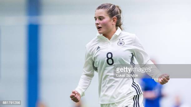 Scorer Leonie Koester of Germany celebrates her team's fourth goal during the U17 Girls friendly match between Finland and Germany at the Eerikkila...