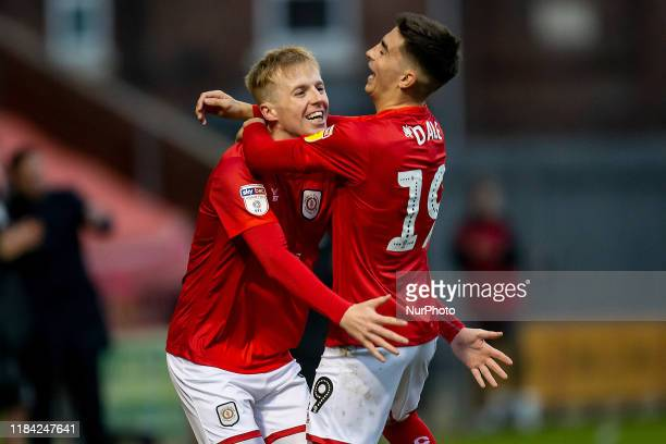Scorer number 3 for crewe Charlie Kirke of Crewe Alexandra celebrates with Owen Dale of Crewe Alexandra during the Sky Bet League 2 match between...