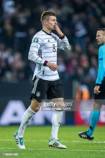 Scorer Toni Kroos of Germany celebrates his team's third goal during the UEFA Euro 2020 Qualifier between Germany and Belarus on November 16 2019 in...