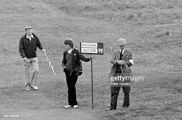 Scorers during the final day of the 1979 Walker Cup Matches at the Honourable Company of Edinburgh Golfers Muirfield on May 31 1979 in Gullane...