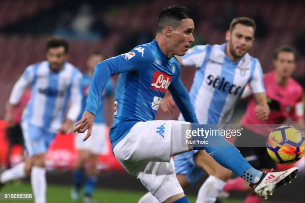 JOSE' CALLEJON scores a goal during the Italian Serie A football SSC Napoli v SS Lazio at S Paolo Stadium in Naples on February 10 2018