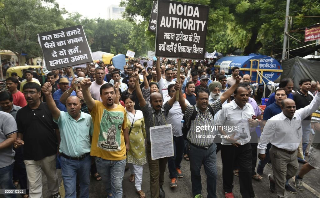 Scores of home buyers of Jaypee Infratech affected by delayed possessions stage a protest at Jantar Mantar on Saturday and threaten to commit suicide if the government does not help, on August 19, 2017 in New Delhi, India Over 32,000 home buyers of Jaypee Infratech, which was declared bankrupt, were affected due to the delayed possession.