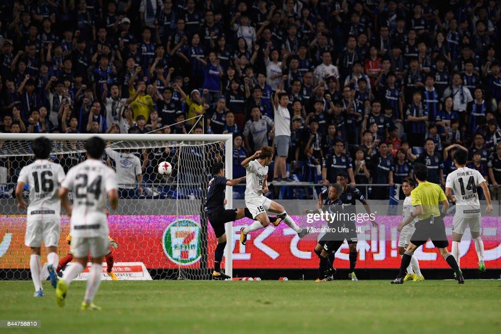 KOBE scores the opening goal during the J.League J1 match between Gamba Osaka and Vissel Kobe at Suita City Football Stadium on September 9, 2017 in Suita, Osaka, Japan.