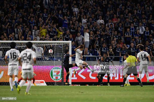 KOBE scores the opening goal during the JLeague J1 match between Gamba Osaka and Vissel Kobe at Suita City Football Stadium on September 9 2017 in...