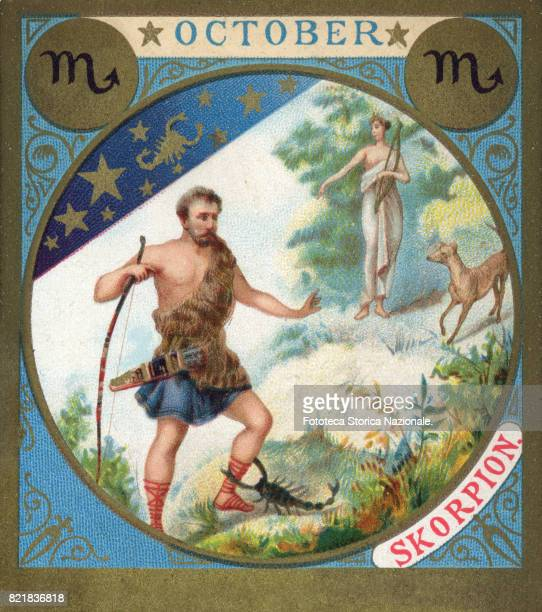 Scorpio little picture dedicated to October from a series illustrated with zodiac signs and scenes from classical mythology Chromos Germany 1897