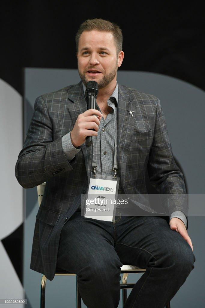 Scorpion Chief Revenue Officer Jamie Adams speaks onstage during the